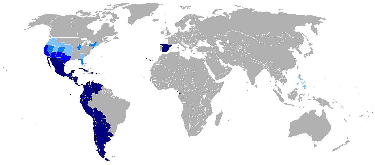 """Map-Hispanophone World"". Licensed under Public Domain via Wikimedia Commons."