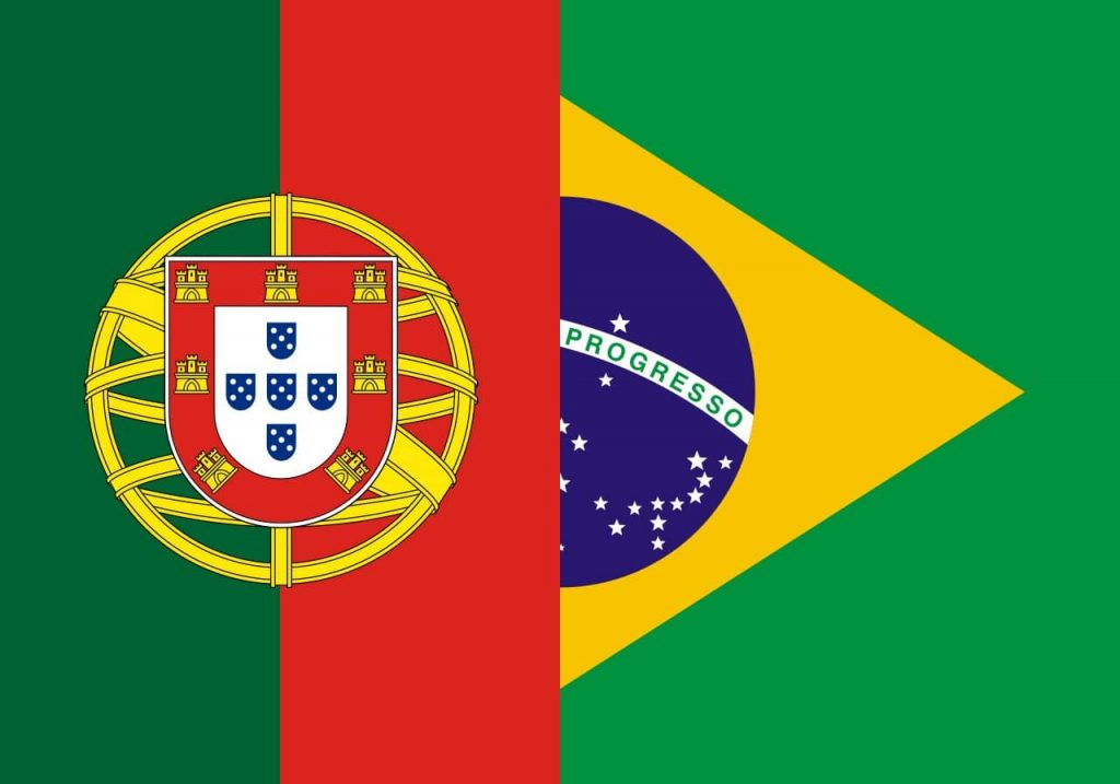 The Brazilian and Portuguese flags side by side - learn Portuguese